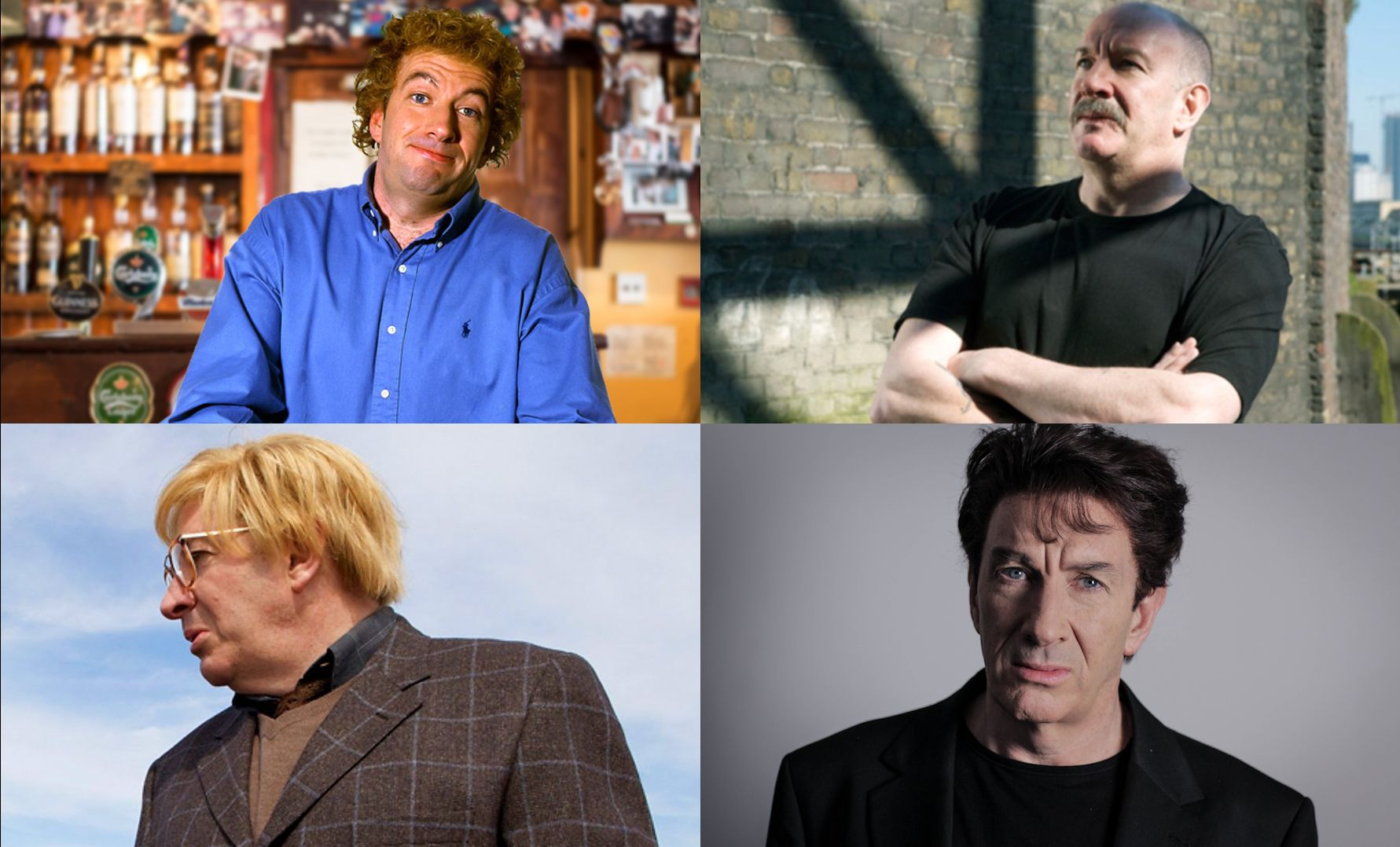 Four characters as played by Simon Day.