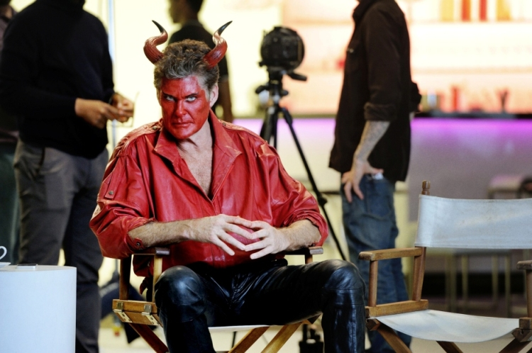 David Hasselhoff wearing a Devil outfit.